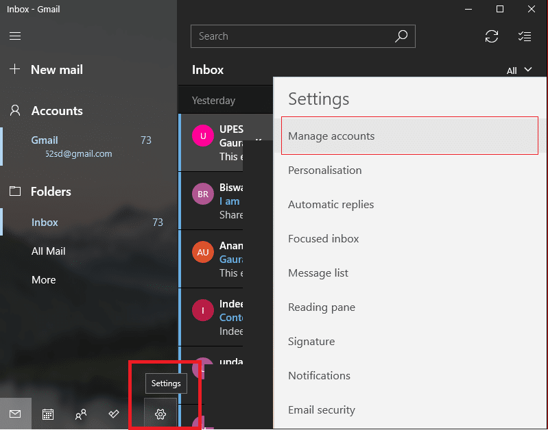 Click the Gear icon then click on Manage Accounts