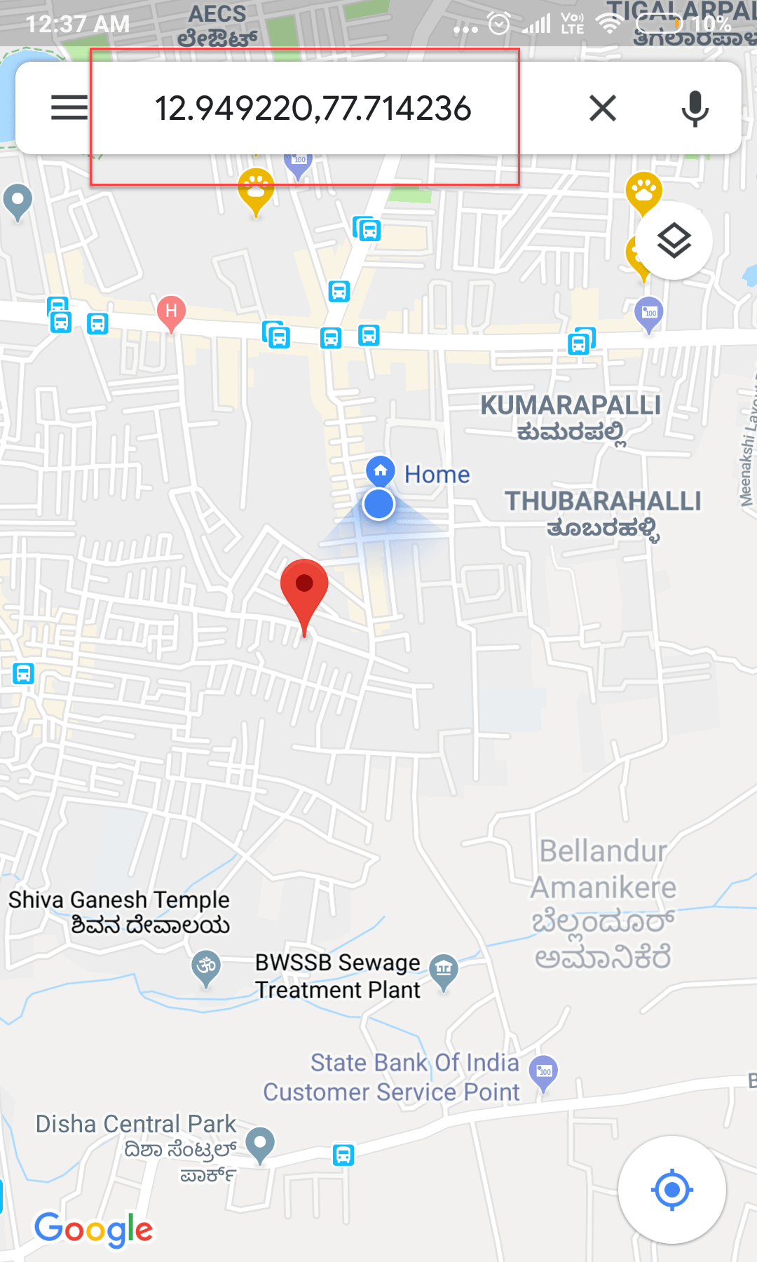 Find GPS Coordinates using Google Maps Application