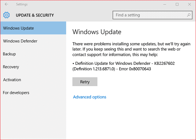 Fix Windows Update Error 0x80070643