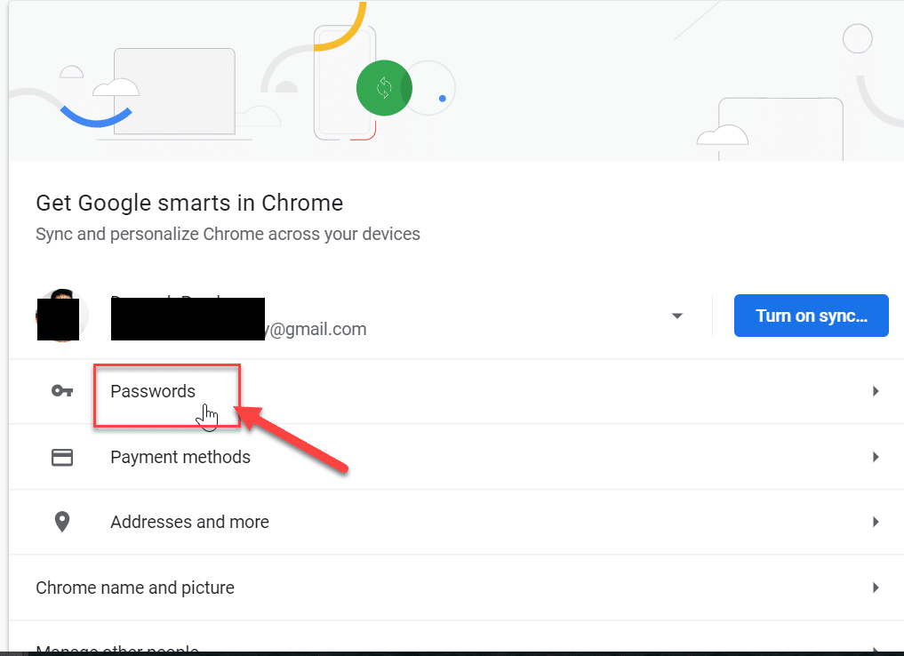 From Chrome settings window click on Password option