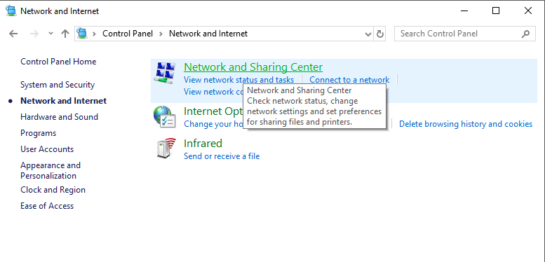 From Control Panel go to Network and sharing center