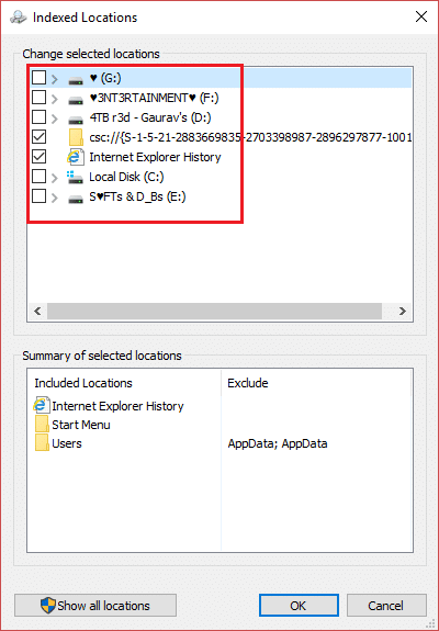 From here you can select drives for enabling or disabling indexing services