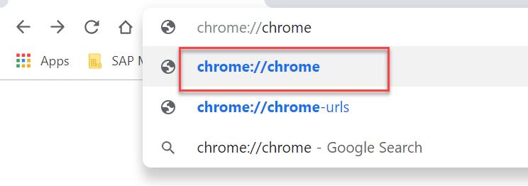 In Chrome typechrome chrome in address bar