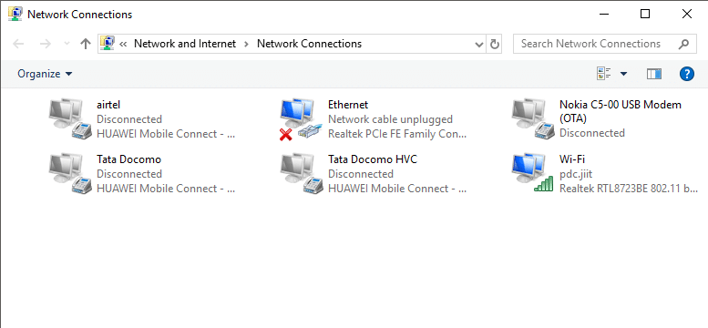 Network connection windows will open