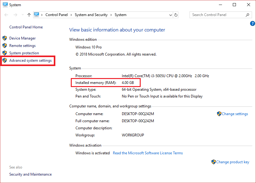 Note down your installed RAM and then click on Advanced System Settings