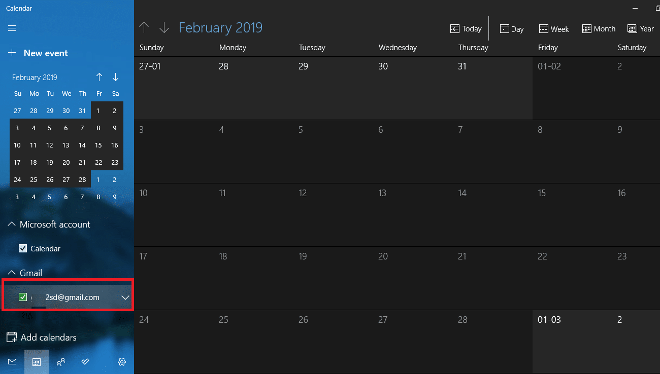 Once the calendar gets synchronized with your account, you will be able to see this window
