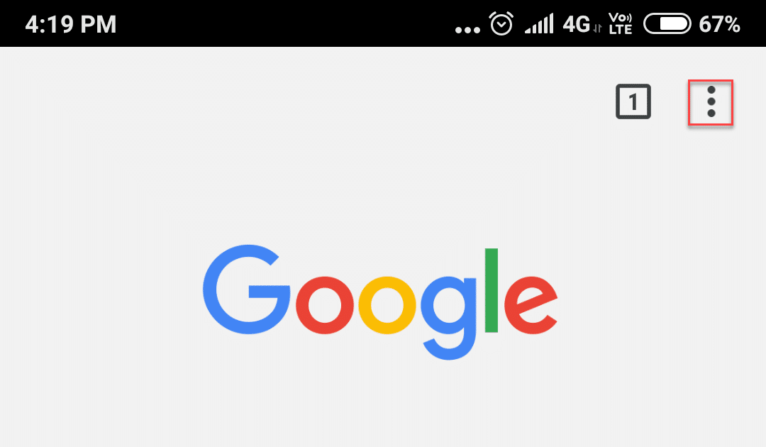 Open Google Chrome app then click on three dots to open menu