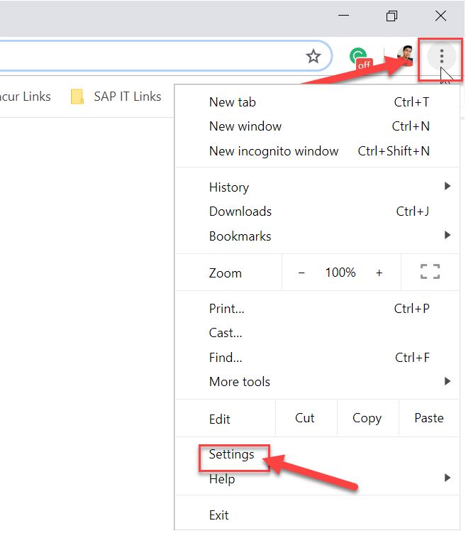 Open Google Chrome then from the top right corner click on the three dots and select Settings
