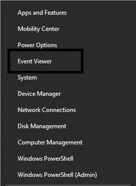 Right click on the start menu and then selectEvent Viewer