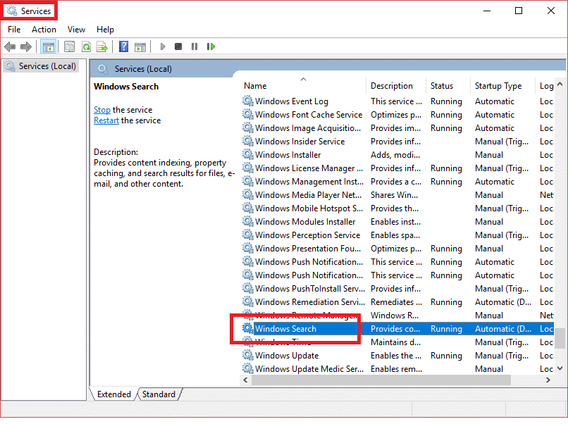 Search for Windows Search in Services window