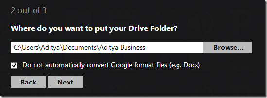 Select the location where you want your drive folder to be placed in your File Explorer