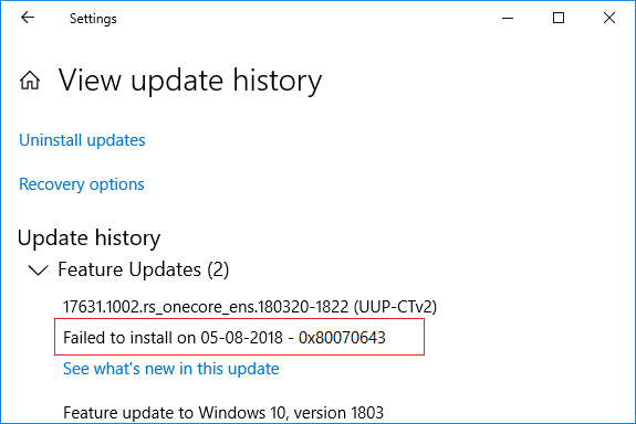 Under Windows Update note down the KB number of the update which fails to install