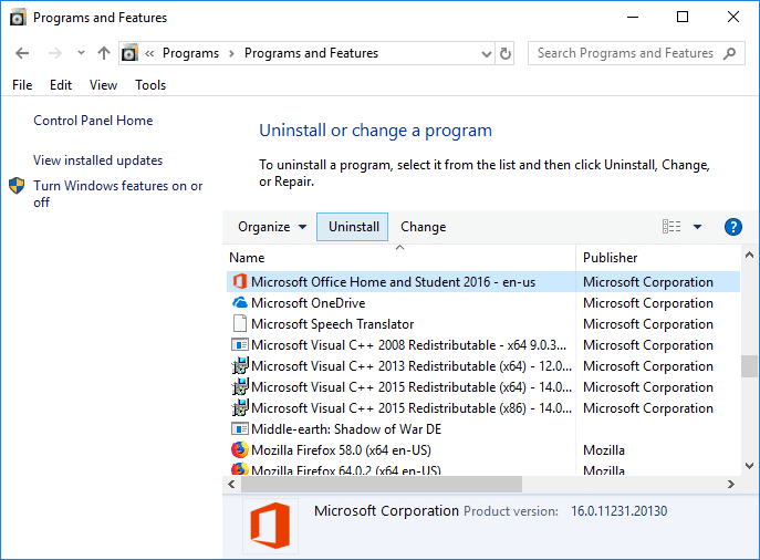 Uninstall and Reinstall the MS Office