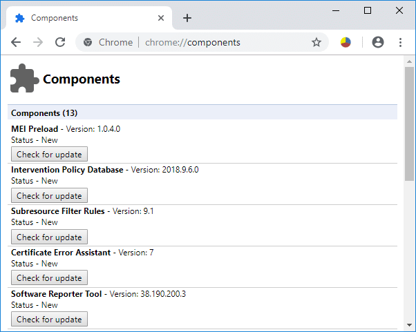 Use Chrome Components to Update Individual Components