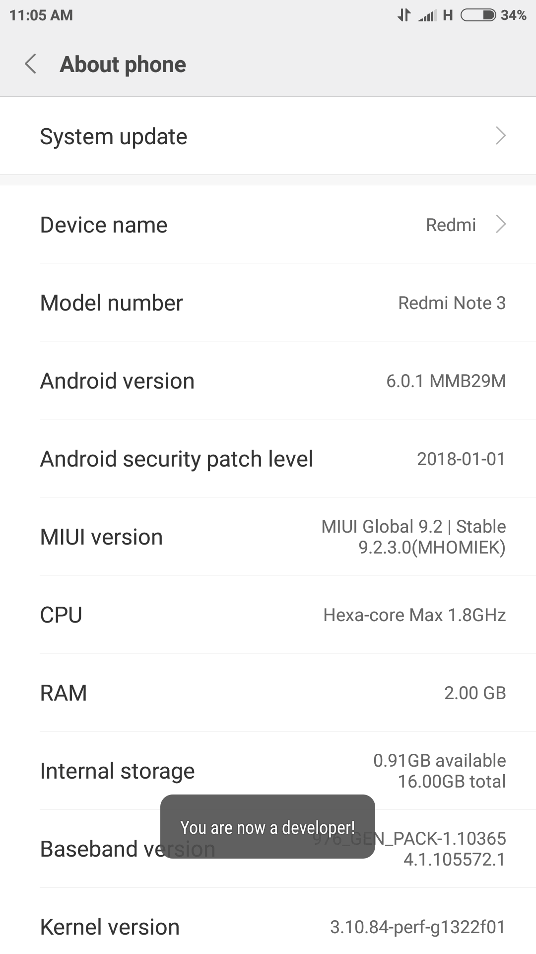 You can enable developer options by tapping 7-8 times on the build number in 'About phone' section
