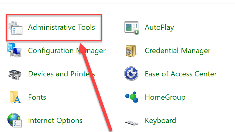 Administrative Tools under Control Panel