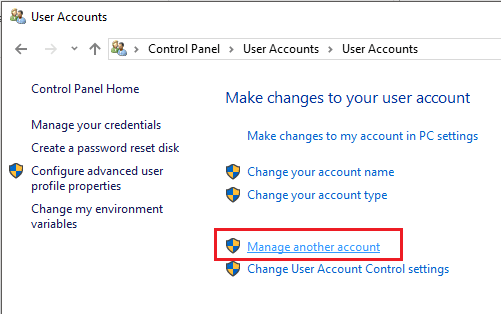 Again click on User Accounts again and then click on Manage another account