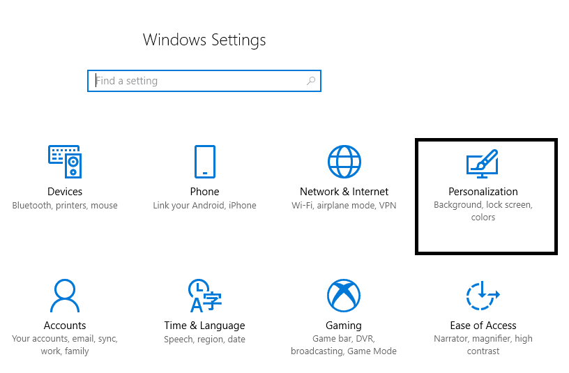 Select Personalization from window Settings