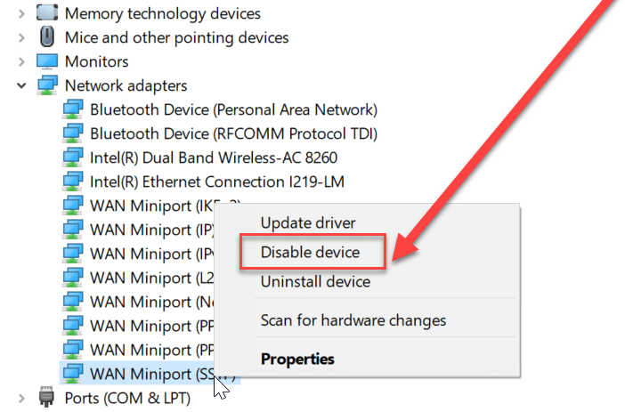 Choose any device under Network Adapter then right-click on it & select Disable