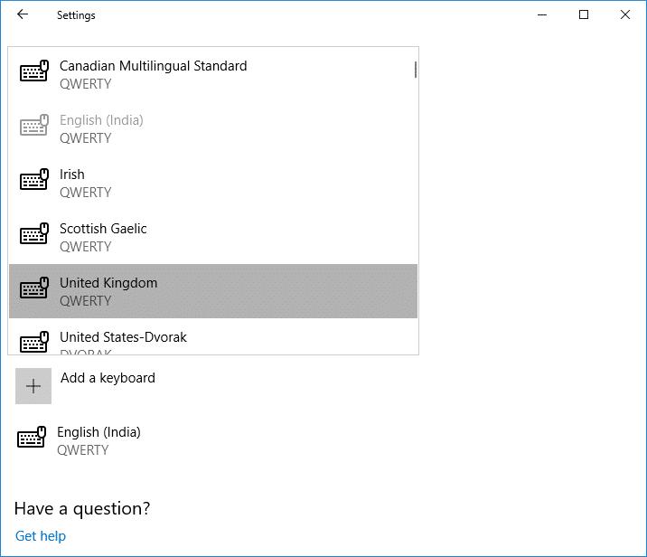 Choose the keyboard you wish to add