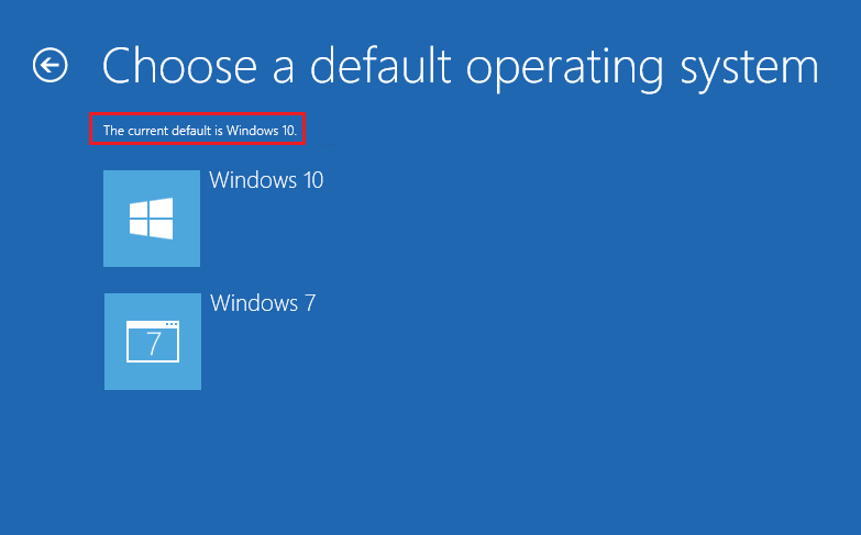 Choose the preferred default operating system