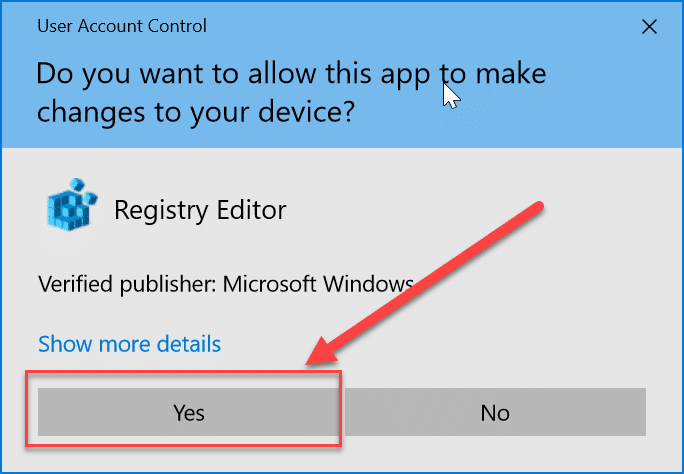 """Click on """"Yes"""" to open the Registry Editor."""