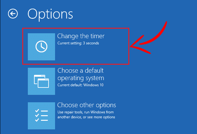 Click on Change the timer under Options window
