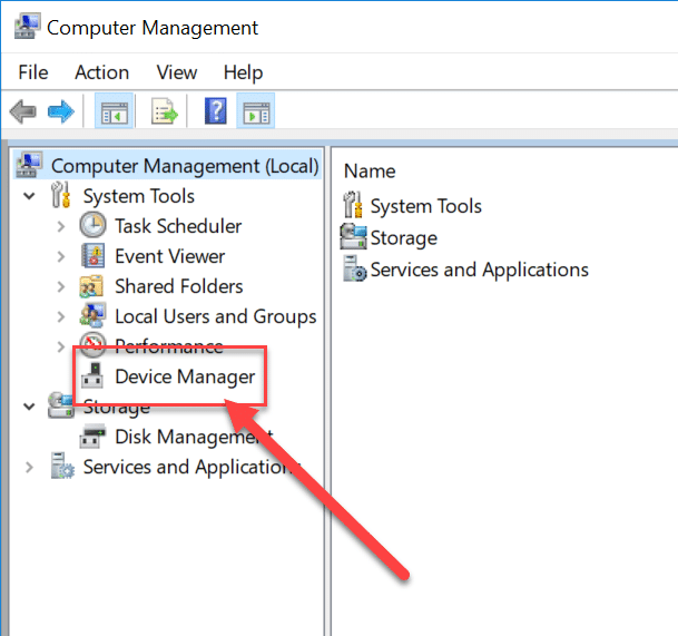 Click on Device Manager under the System Tools section