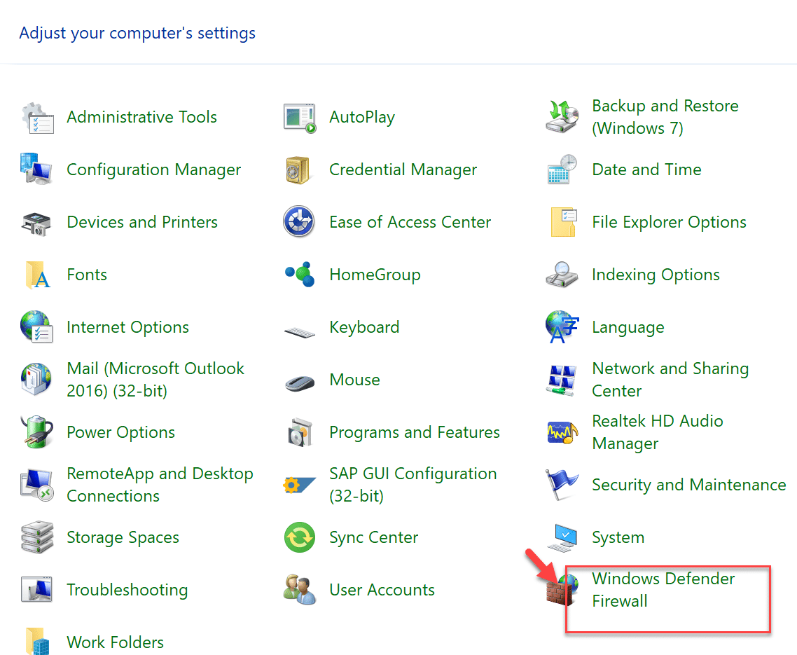 """Click on the """"Windows Defender Firewall"""" option under Control Panel"""