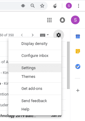 Click on the gear icon then select Settings under Gmail