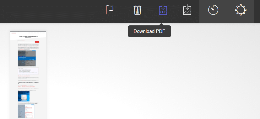 Decide if you want to save it as pdf or image and click on the relevant icon