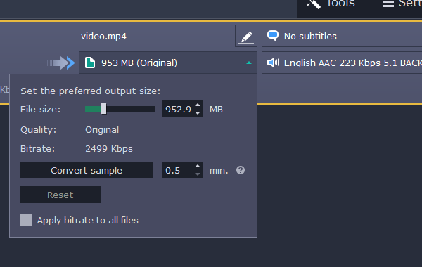 Decide the output file size