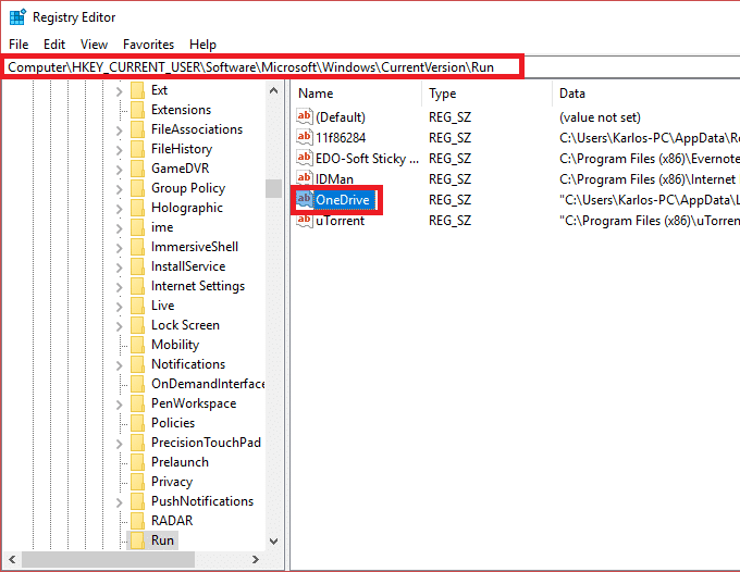 Disable the particular startup program by deletingits registry key