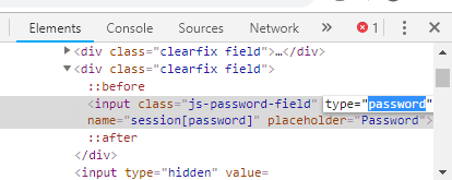 Double click on type=passwordand type 'text' in the place of 'password' & press Enter