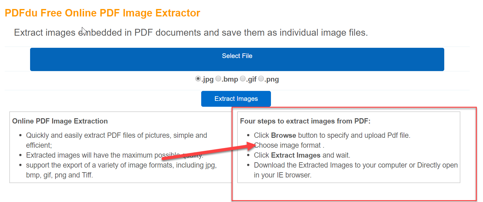 Extract images from PDF file using PDFdu