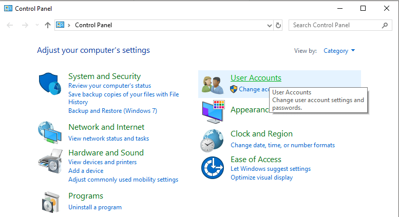 From Control Panel click on User Accounts