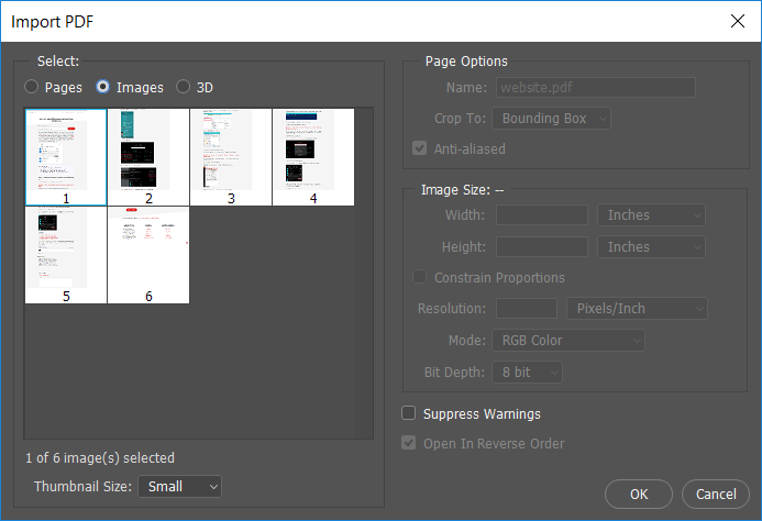 From Import PDF dialog box select the Images option then click OK