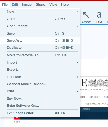From Snagit file menu click on Save As