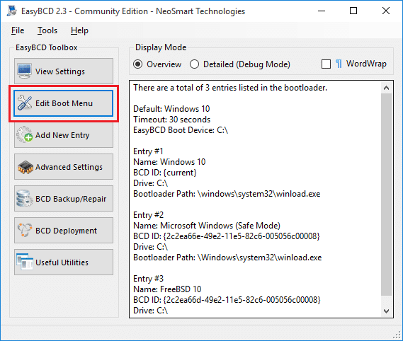From the left-hand side click on Edit Boot Menu under EasyBCD