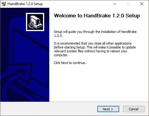 Handbrake installation setup will open up, click Next