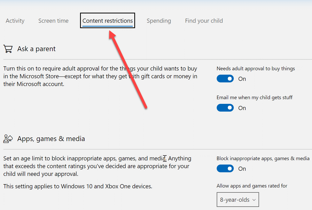 """Here you canapply different restriction related to the internet & games under """"Content Restriction"""" tab"""