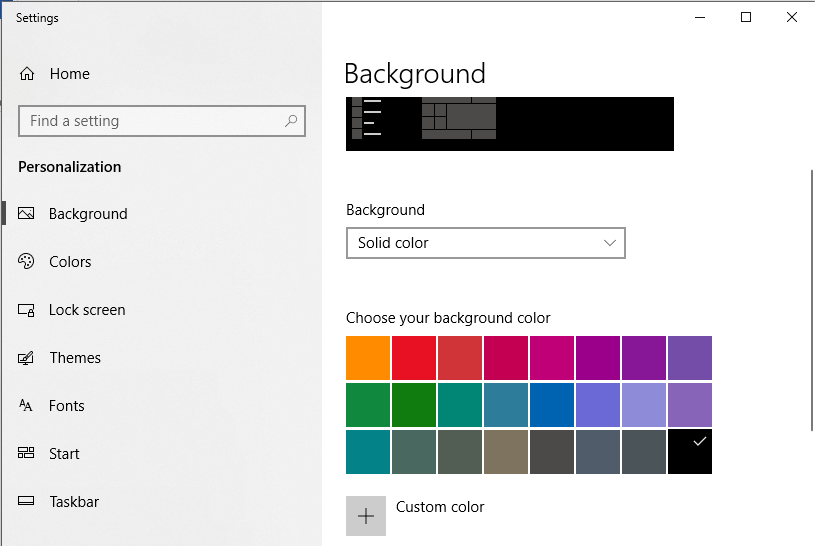 If you select Solid color, you will see the color pane from which you can select the color of your choice
