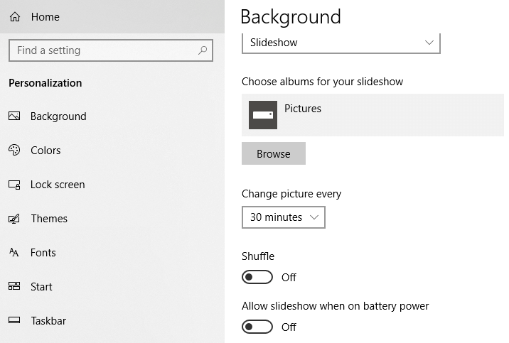 In the Slideshow option, you can choose an entire album of images