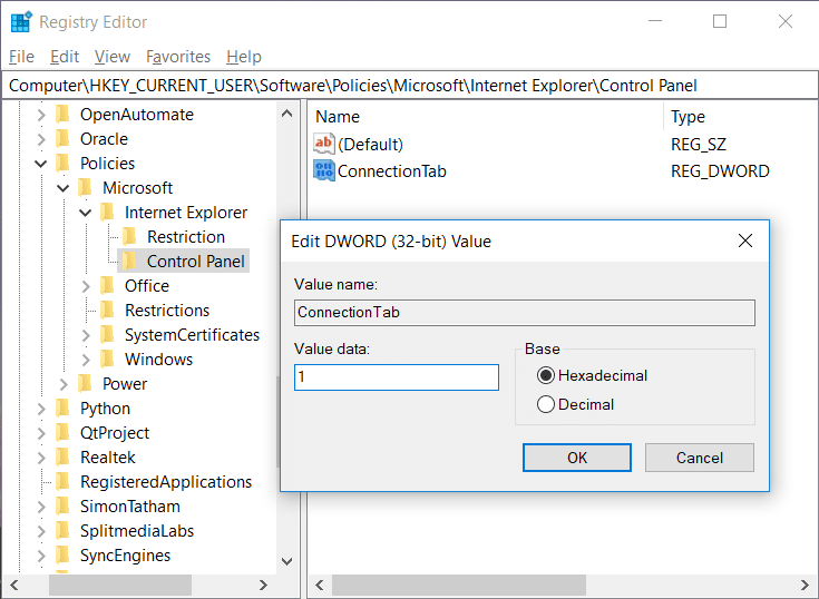 Name this new DWORD asConnectionTab and change its value data to '1'