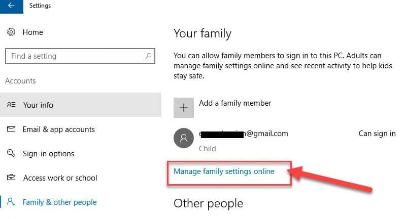 """Now click on""""Manage Family Setting online"""""""