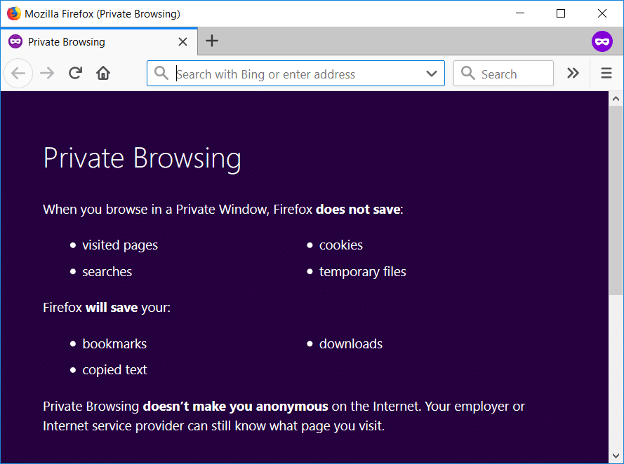 On Firefox pressCtrl+Shift+P to open Private Browsing window