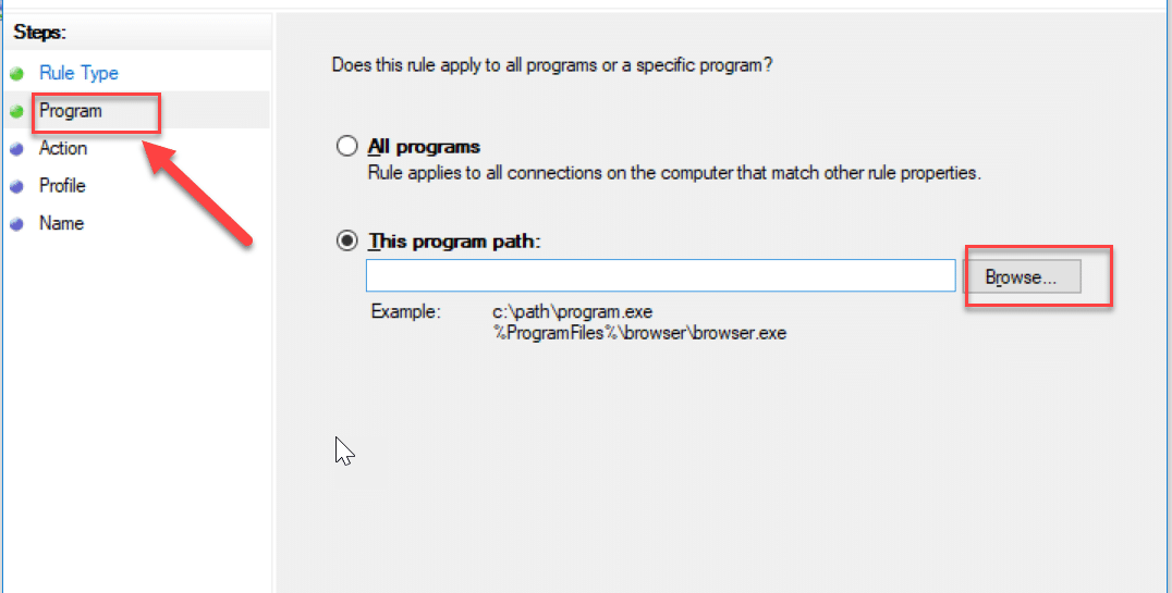 On the Program step, browse to the application or program for which you are creating this rule