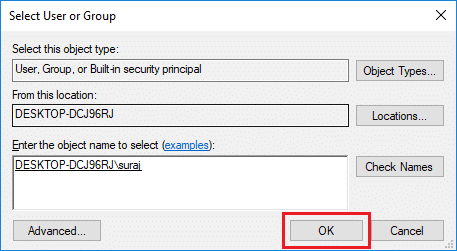 Once you select the user account then click OK