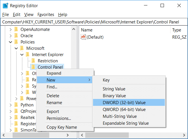 Right-click onControl Panelthen select New then select DWORD(32-bit) Value