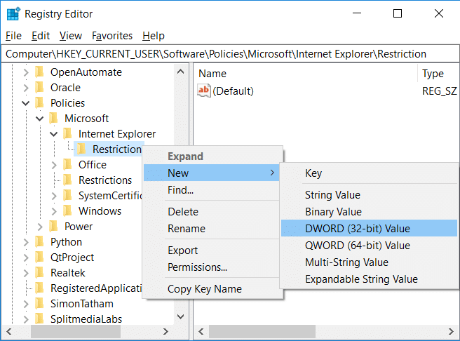 Right-click on Restrictionthen select New then DWORD (32-Bit) Value